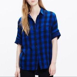 Madrwell Blue/Black Plaid Short Sleeved Flannel